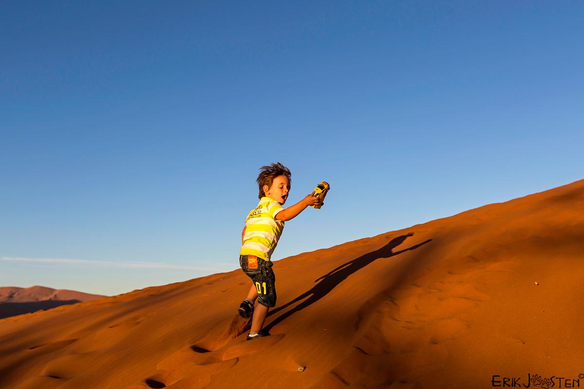 Lekker over de duinen rennen bij de Sossusvlei