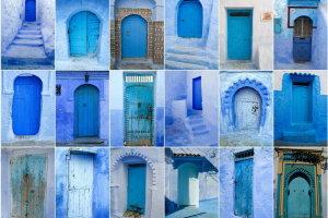 blauwe deuren in Chefchaouen