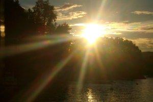 De laatste zon over het dek