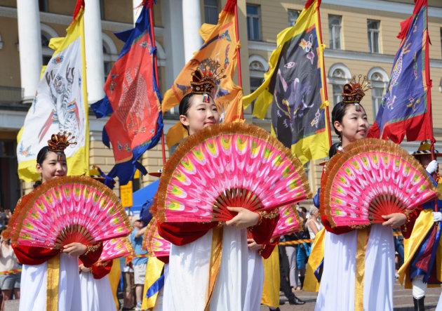 Koreaanse danseressen in Helsinki