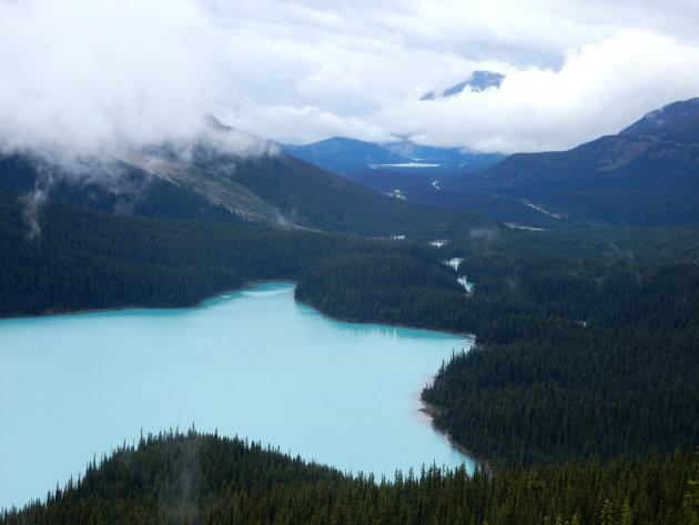 Peyto Lake in Canada, het perfecte uitzicht!