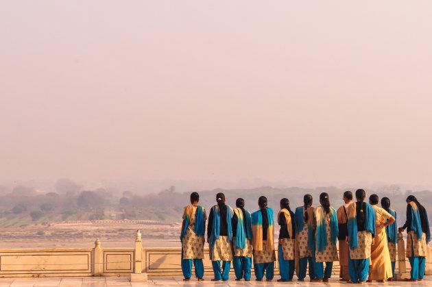 Roze smoglucht in Agra
