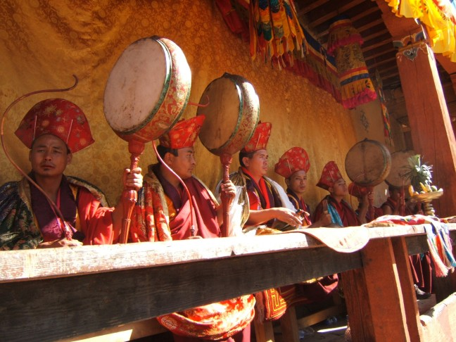 Muzikanten bij Wangdue Tsechu