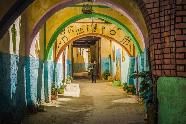 Vrolijk straatje in Meknes.