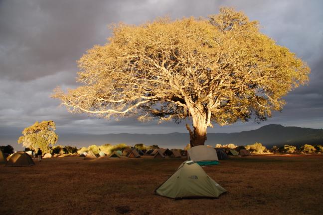 Zonsondergang op de Ngogorogoro krater camping