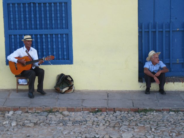 A Cuban singing in the street in Trinidad