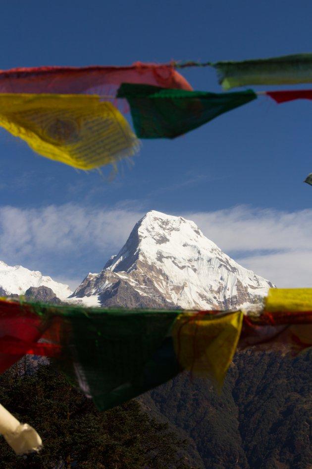 Vlaggentop in de Himalaya