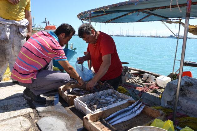 Lokale vissers in da haven van Zakynthos.