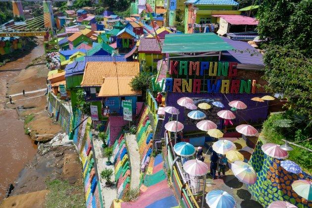 Kleurrijke Kampung Warna Warni in Malang