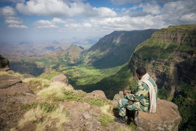 Wandelen door het Ethiopische hoogland