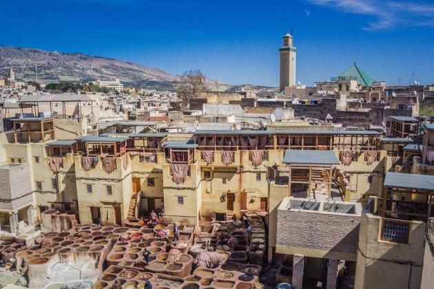 Uitzicht over de leerlooierijen van Fez