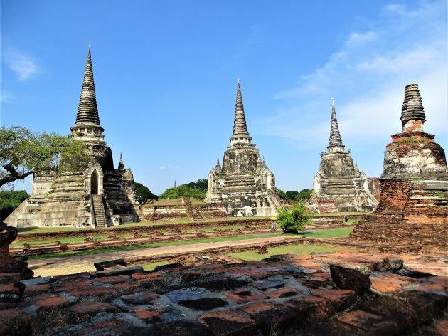De drie Chedi's van Wat Si Sanphet.