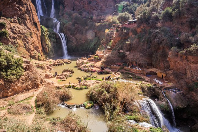 Badderen bij de watervallen van Ouzoud