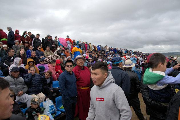 De paardenraces van het Naadam festival