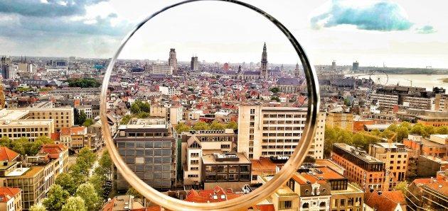 Antwerpen vanop het MAS door een fotovenstertje