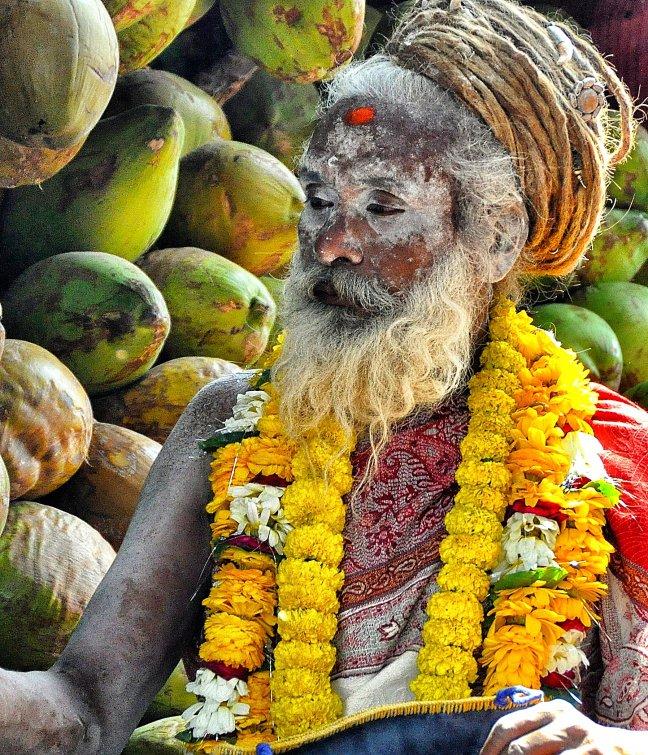 Sadhoe met kokosnoten