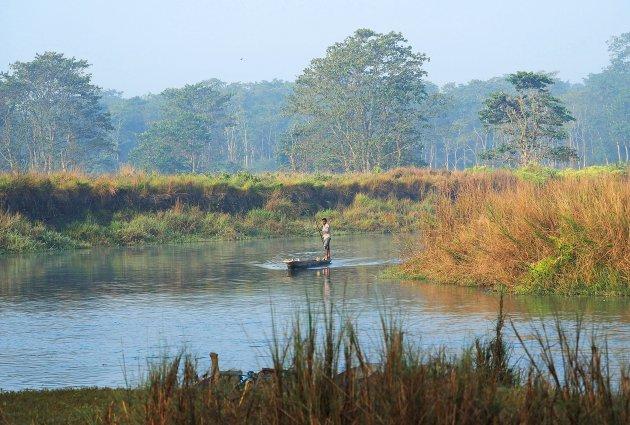 's Morgens vroeg in Chitwan