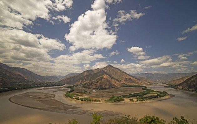 Eerste bocht van de Yangtze-rivier