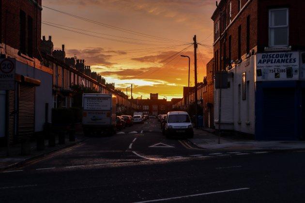 Zonsondergang in Liverpool