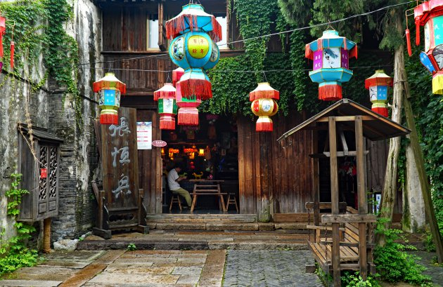 Lantaarns in Wuzhen voor voorspoed en geluk