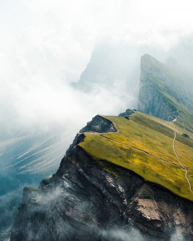 Seceda op 2500m, één van de meest indrukwekkendste bergtoppen van de Dolomieten.