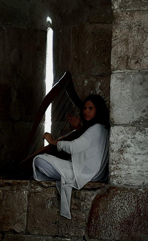 Een harp en een vomhelzen elkaar in het kaarslicht, als je stil was geweest had je het kunnen horen.....