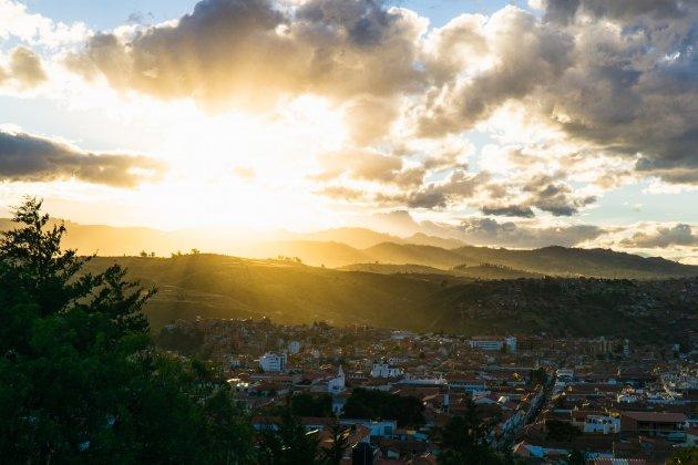 Zonsondergang Sucre, Bolivia