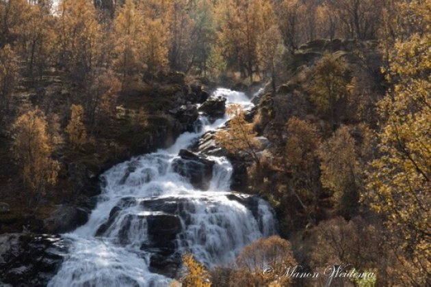 Waterval in de herfstzon