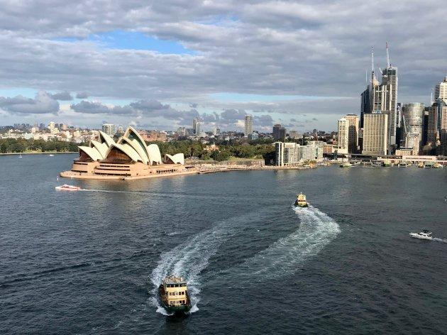 Uitzicht vanaf Harbour Bridge, Sydney