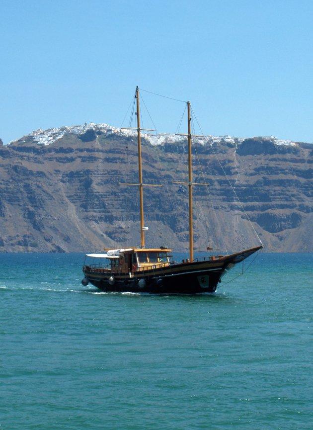 De caldera van Santorini