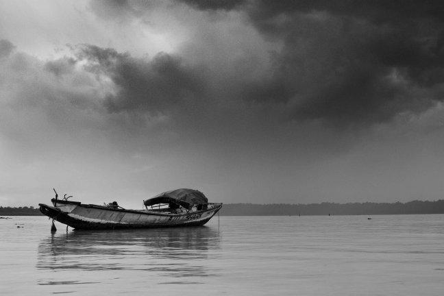 Moessonregens op de Andaman Eilanden