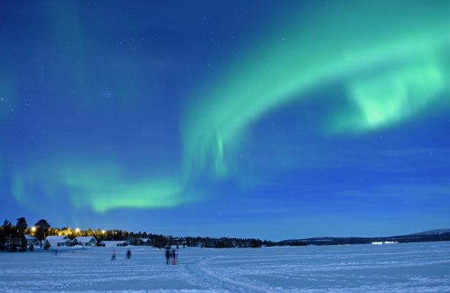 Noorderlicht aan het meer van Inari