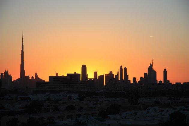 zonsondergang in Dubai
