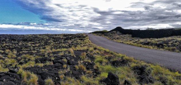 Rustige weg tussen de lavavelden op Pico