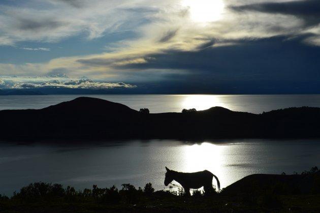 De zon zakt weg in het hoogst bevaarbare meer ter wereld op het rustieke Isla del Sol
