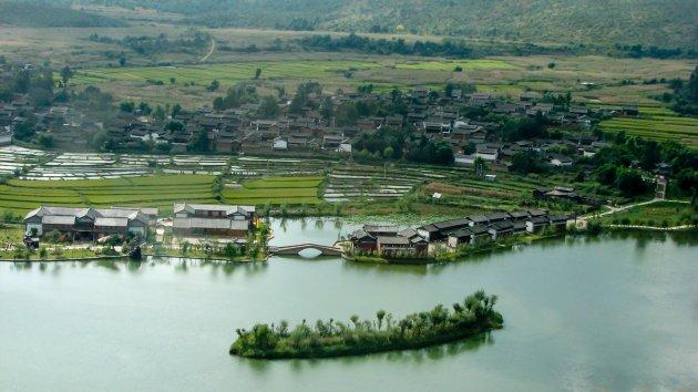 Zicht op de rijstvelden