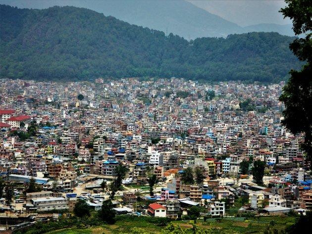 Uitzicht op Kathmandu vanaf de Swayambhunath