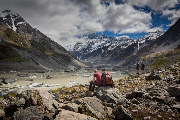 Wandelen naar Hooker glacier lake