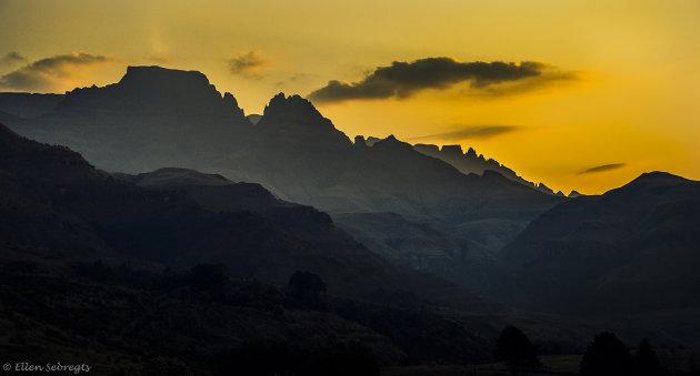 Zonsondergang Drakensbergen