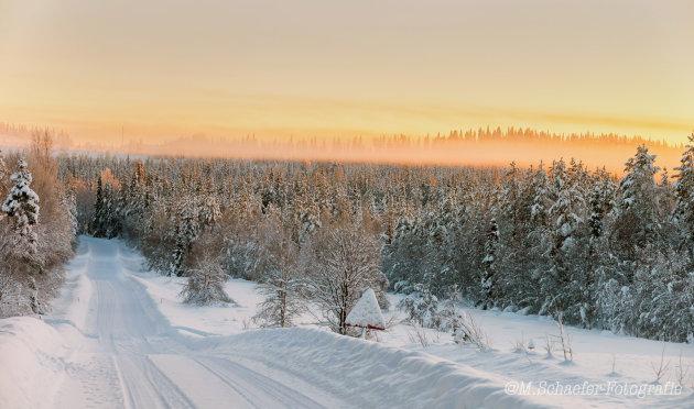 Sunset in de sneeuw