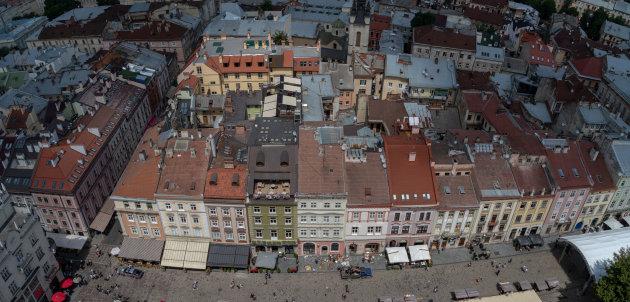 Overzicht over het centrum van Lviv