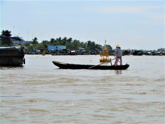 Bootje op de Mekong Delta.