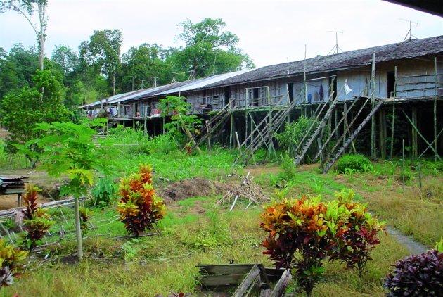 Inheems dorp in Sarawak.