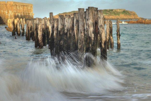 Houten zeewering Saint-Malo