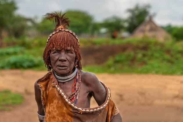 Traditionele Hamar vrouw