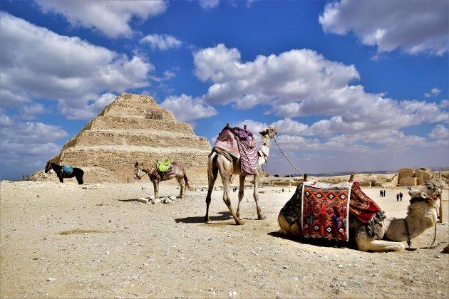 Bij de piramide van Djoser.