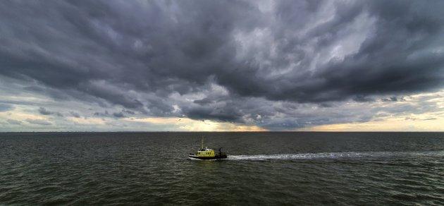 Bootje op de Waddenzee