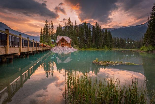 Zonsondergang bij Emerald Lake