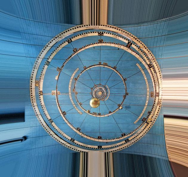 Het plafond van de planetariumkamer