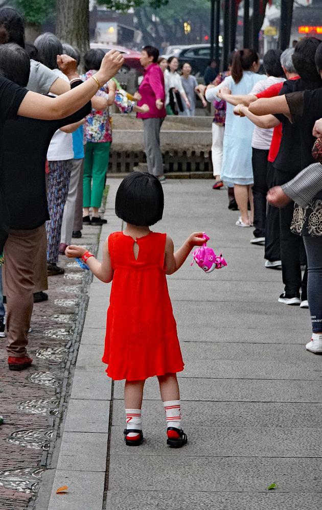 Pleindansen met mama in Wuzhen